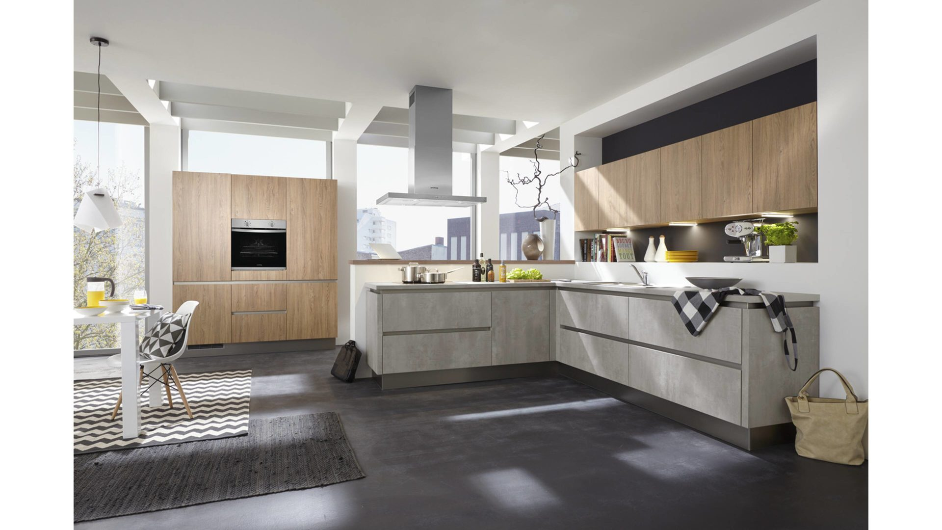 Culineo Küche mit privileg Einbaugeräten, Beton perlgraue & Asoria ...