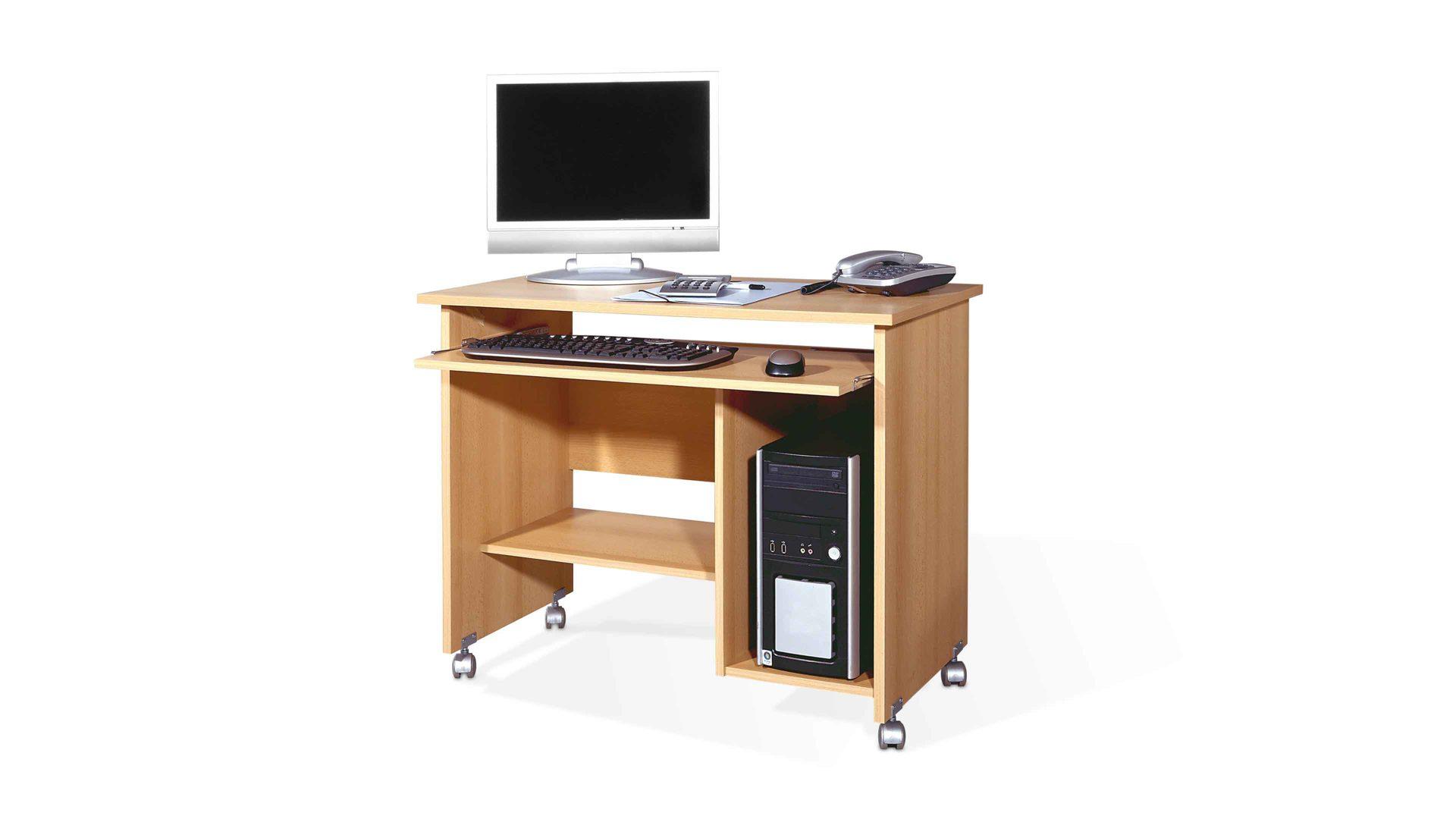 Computertisch Germania Aus Holz In Holzfarben Computertisch Auf Rollen Für  Ihre Büroeinrichtung Buchefarbene Kunststoffoberflächen