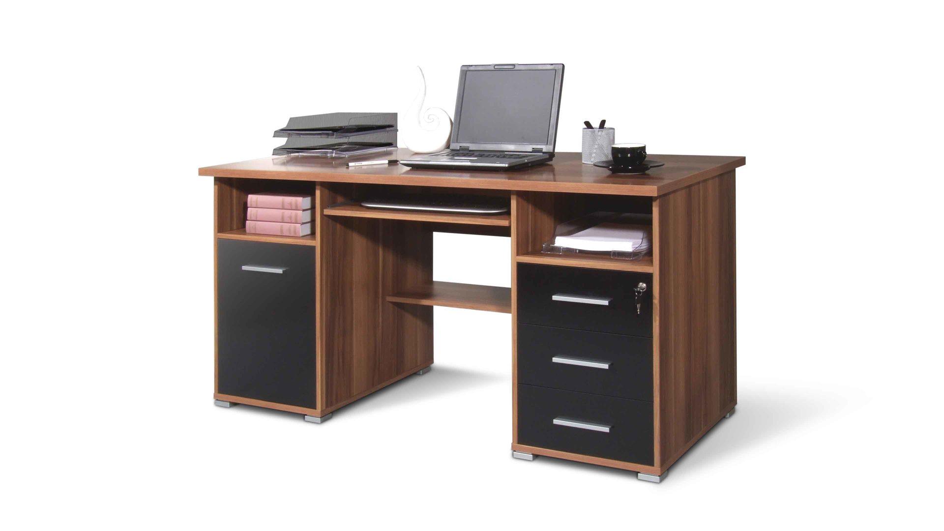 Hervorragend Schreibtisch Germania Aus Holz In Holzfarben Schreibtisch Bzw. Computertisch  Für Moderne Büros Walnussfarbene U0026 Schwarze