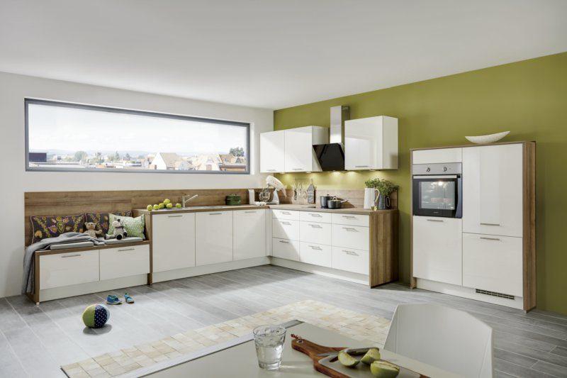 Einbauküche nobilia aus holz in weiß einbauküche mit gorenje elektrogeräten weiße lack hochglanzfronten