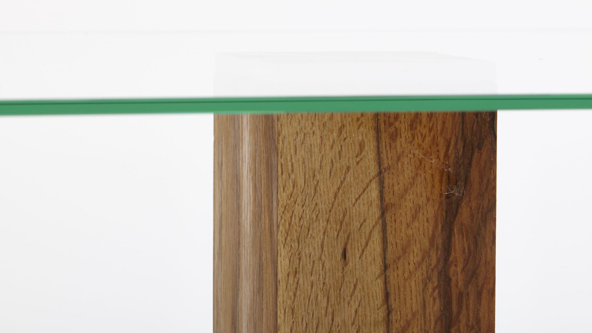 Couchtisch Concept Aus Glas In Transparent Als Moderner Wohnzimmertisch Klarglas Edelstahl Wildeiche