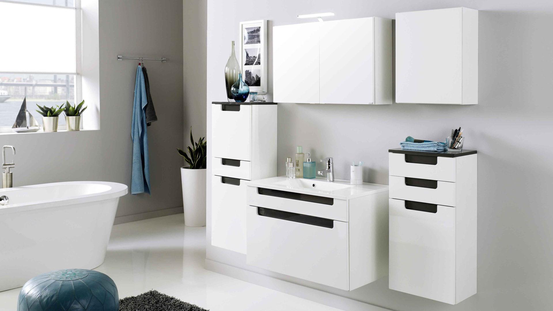Waschtisch-Set Siena als praktisches Badmöbel , weiße & graue ...